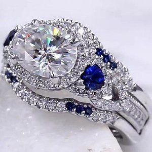 Ring Blue Sapphire 5 Ct Wedding Band Set Diamond